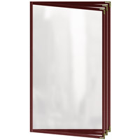 H. Risch, Inc. TETB Deluxe Sewn 8 1/2 inch x 14 inch Maroon 6 View Vinyl Menu Cover