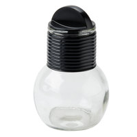10 oz. Glass Hottle with Black Band and Lid - 24/Case