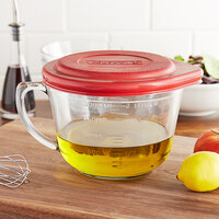 Anchor Hocking 91557AHG17 2 Qt. (8 Cups) Glass Measuring Cup / Batter Bowl with Red Lid