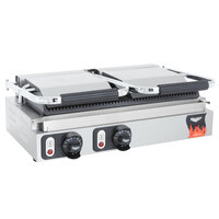 Vollrath 40795 Dual Grooved Top & Bottom Panini Sandwich Grill - 19 inch x 9 1/8 inch Cooking Surface - 220V, 3080W