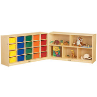 Jonti-Craft Baltic Birch 0423JC Fold-n-Lock 96 inch x 15 inch x 29 1/2 inch Mobile 25-Cubbie Wood Storage Cabinet with Colored Bins