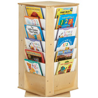 Jonti-Craft Baltic Birch 3551JC 19 1/2 inch x 19 1/2 inch x 38 1/2 inch 24-Slot Small Children's Revolving Wood Literacy Tower