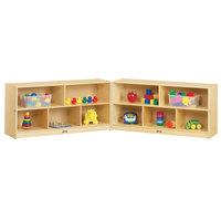 Jonti-Craft Baltic Birch 0326JC Fold-n-Lock 96 inch x 15 inch x 24 1/2 inch Toddler-Height Mobile 10-Cubbie Wood Storage Cabinet