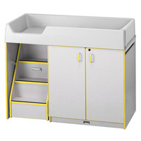 Rainbow Accents 5145JC007 48 1/2 inch x 23 1/2 inch x 38 1/2 inch Yellow TRUEdge Freckled-Gray Left-Sided Diaper Changing Station with Stairs