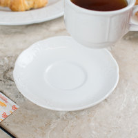 Tuxton CHE-054 Chicago 5 5/8 inch Bright White China Demitasse Saucer - 36/Case