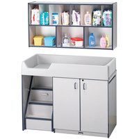 Rainbow Accents 5140JC112 48 1/2 inch x 23 1/2 inch x 38 1/2 inch Navy TRUEdge Freckled-Gray Left-Sided Diaper Changing Station with Stairs and Mounted Organizer