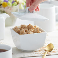 Sant'Andrea W6052344900 Nexus 11.75 oz. Square Bright White Embossed Porcelain Bowl with Lid by Oneida - 36/Case