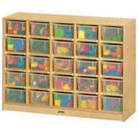 Jonti-Craft Baltic Birch 0425JC 48 inch x 15 inch x 35 1/2 inch Mobile 25-Cubbie Wood Storage Cabinet