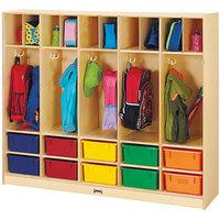 Jonti-Craft Baltic Birch 26857JC 60 inch x 15 inch x 50 1/2 inch Large Locker Organizer with 10 Colored Tubs
