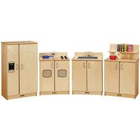 Jonti-Craft Baltic Birch 2411JC Culinary Creations 80 inch x 15 inch x 35 inch 4-Piece Play Kitchen Set