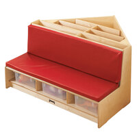 Jonti-Craft Baltic Birch 53410JC 42 inch x 39 1/2 inch x 23 1/2 inch Red Cushion Wood Corner Literacy Nook with Book Display, Storage, and 3 Clear Plastic Tubs