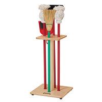 Jonti-Craft Baltic Birch 2061JC 11 inch x 11 inch x 29 inch 6-Piece Children's Housecleaning Set with Wood Rack