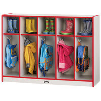 Rainbow Accents 2684JCWW008 48 inch x 15 inch x 35 inch Toddler-Height 5-Section Red TRUEdge Freckled-Gray Laminate Coat Locker
