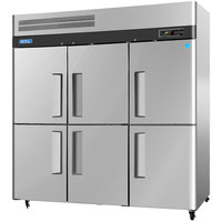 Turbo Air M3R72-6 78 inch M3 Series Six Half Door Reach In Top Mount Refrigerator - 72 Cu. Ft.