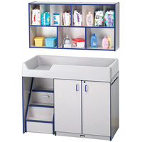Rainbow Accents 5140JC003 48 1/2 inch x 23 1/2 inch x 38 1/2 inch Blue TRUEdge Freckled-Gray Left-Sided Diaper Changing Station with Stairs and Mounted Organizer