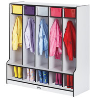 Rainbow Accents 0468JCWW180 48 inch x 17 1/2 inch x 50 1/2 inch 5-Section Black TRUEdge Freckled-Gray Laminate Coat Locker with Step