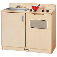 Jonti-Craft Baltic Birch 2402JC 30 inch x 15 inch x 27 inch 2-in-1 Kitchen with Sink and Stove / Oven
