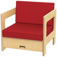 Jonti-Craft Baltic Birch 0376JC 19 1/2 inch x 20 inch x 20 inch Red Cushion Children's Wood Living Room Chair