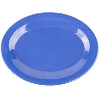 Carlisle 3308614 Sierrus 9 1/2 inch x 7 1/4 inch Ocean Blue Oval Melamine Platter - 24/Case