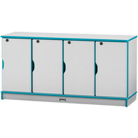 Rainbow Accents 4688JC005 48 1/2 inch x 15 inch x 24 inch Locking 4-Section Teal TRUEdge Freckled-Gray Single Stack Laminate Locker