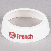Tablecraft CM17 Imprinted White Plastic Fat Free French Salad Dressing Dispenser Collar with Maroon Lettering