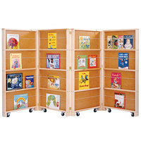 Jonti-Craft Baltic Birch 0267JC 96 inch x 2 1/2 inch x 48 inch 4-Section Mobile Library Bookcase