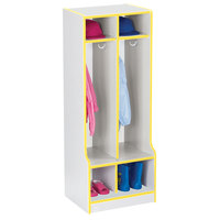 Rainbow Accents 4682JCWW007 20 inch x 17 1/2 inch x 50 1/2 inch 2-Section Yellow TRUEdge Freckled-Gray Laminate Coat Locker with Step