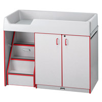 Rainbow Accents 5145JC008 48 1/2 inch x 23 1/2 inch x 38 1/2 inch Red TRUEdge Freckled-Gray Left-Sided Diaper Changing Station with Stairs
