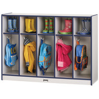Rainbow Accents 2684JCWW112 48 inch x 15 inch x 35 inch Toddler-Height 5-Section Navy TRUEdge Freckled-Gray Laminate Coat Locker
