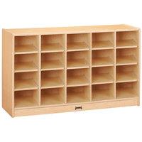 Jonti-Craft Baltic Birch 0420JC 48 inch x 15 inch x 29 1/2 inch Mobile 20-Cubbie Wood Storage Cabinet