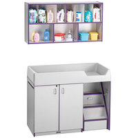 Rainbow Accents 5142JC004 48 1/2 inch x 23 1/2 inch x 38 1/2 inch Purple TRUEdge Freckled-Gray Right-Sided Diaper Changing Station with Stairs and Mounted Organizer