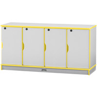 Rainbow Accents 4688JC007 48 1/2 inch x 15 inch x 24 inch Locking 4-Section Yellow TRUEdge Freckled-Gray Single Stack Laminate Locker
