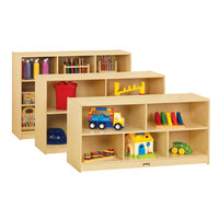 Jonti-Craft Baltic Birch 0324JC18 48 inch x 18 inch x 24 1/2 inch Toddler-Height Mobile 5-Section Wood Storage Cabinet
