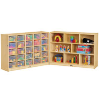 Jonti-Craft Baltic Birch 0427JC Fold-n-Lock 96 inch x 15 inch x 35 1/2 inch Mobile 33-Cubbie Wood Storage Cabinet