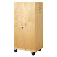 Jonti-Craft Baltic Birch 5946JC 30 inch x 24 inch x 64 inch Mobile Wood Hideaway Storage Cabinet