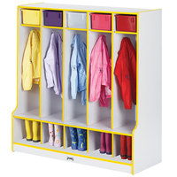 Rainbow Accents 0468JCWW007 48 inch x 17 1/2 inch x 50 1/2 inch 5-Section Yellow TRUEdge Freckled-Gray Laminate Coat Locker with Step