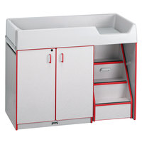 Rainbow Accents 5148JC008 48 1/2 inch x 23 1/2 inch x 38 1/2 inch Red TRUEdge Freckled-Gray Right-Sided Diaper Changing Station with Stairs