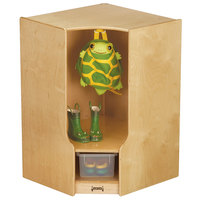 Jonti-Craft Baltic Birch 66830JC 24 inch x 24 inch x 35 inch Toddler Corner Coat Locker with Step and Clear Trays