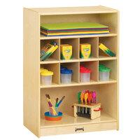Jonti-Craft Baltic Birch 0358JC 24 inch x 15 inch x 35 1/2 inch Mobile 10-Section Wood Block Storage Cabinet