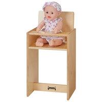 Jonti-Craft Baltic Birch 0495JC 13 inch x 12 inch x 25 inch Children's Wood Doll High Chair