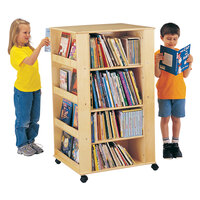 Jonti-Craft Baltic Birch 0539JC 24 inch x 27 inch x 46 1/2 inch Children's Wood Literacy Media Tower with 8 Fixed Display Shelves and 6 Adjustable Book Shelves