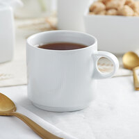 Sant'Andrea W6052344563 Nexus 12.5 oz. Round Bright White Stackable Embossed Porcelain Mug by Oneida - 36/Case