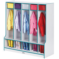 Rainbow Accents 0468JCWW005 48 inch x 17 1/2 inch x 50 1/2 inch 5-Section Teal TRUEdge Freckled-Gray Laminate Coat Locker with Step