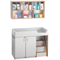 Rainbow Accents 5142JC114 48 1/2 inch x 23 1/2 inch x 38 1/2 inch Orange TRUEdge Freckled-Gray Right-Sided Diaper Changing Station with Stairs and Mounted Organizer