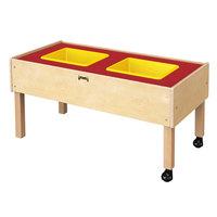 Jonti-Craft Baltic Birch 0486JC 41 1/2 inch x 20 1/2 inch x 20 inch Toddler-Height Mobile 2-Tub Wood Sensory Table
