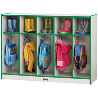 Rainbow Accents 2684JCWW119 48 inch x 15 inch x 35 inch Toddler-Height 5-Section Green TRUEdge Freckled-Gray Laminate Coat Locker