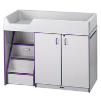 Rainbow Accents 5145JC004 48 1/2 inch x 23 1/2 inch x 38 1/2 inch Purple TRUEdge Freckled-Gray Left-Sided Diaper Changing Station with Stairs