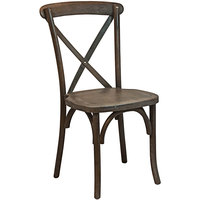 Flash Furniture X-BACK-BURDRIFT Advantage Dark Driftwood Stackable Wood Dining Height Cross Back Chair