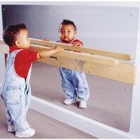 Jonti-Craft Baltic Birch 0619JC 48 inch x 3 1/2 inch x 27 1/2 inch Infant Coordination Mirror with Pull-Up Rail