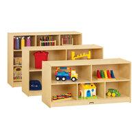 Jonti-Craft Baltic Birch 0392JC18 48 inch x 18 inch x 29 1/2 inch Low Mobile 5-Section Wood Storage Cabinet